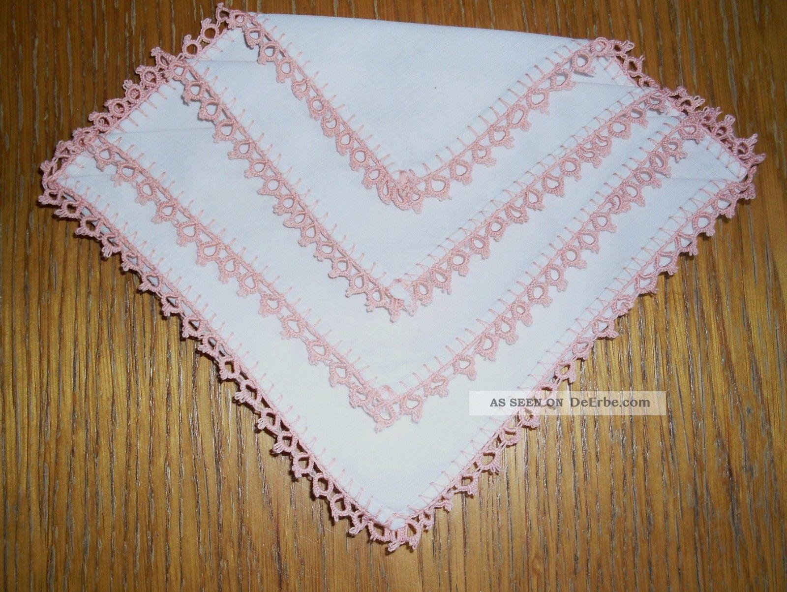 Spitzentaschentuch Häkeltaschentuch Einstecktuch Häkelspitze Farbe Rosa Accessoires Bild