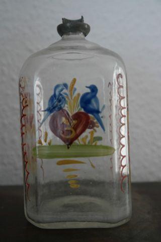 Schnapsflasche,  Hochzeitsflasche,  Facettiert,  Mit Emailbemalung,  Abriss,  Um 1800 Bild