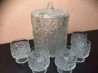 SchÖne Eisglas Bowle - 50er - 60er Jahre,  5 GlÄser Bild