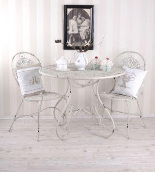 Gartenmöbel Gartenset 1 Tisch Und 2 Stühle Eisenmöbel Antik Style Vintage Bild