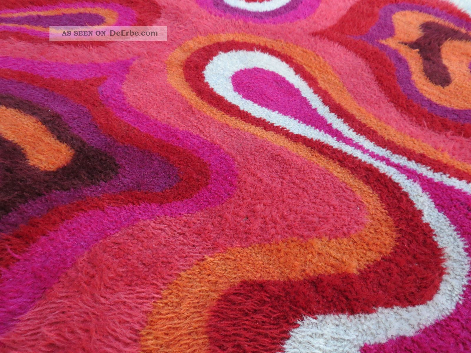 teppich 70er hochflor psychodelic carpet flower power space age rund 197 cm. Black Bedroom Furniture Sets. Home Design Ideas