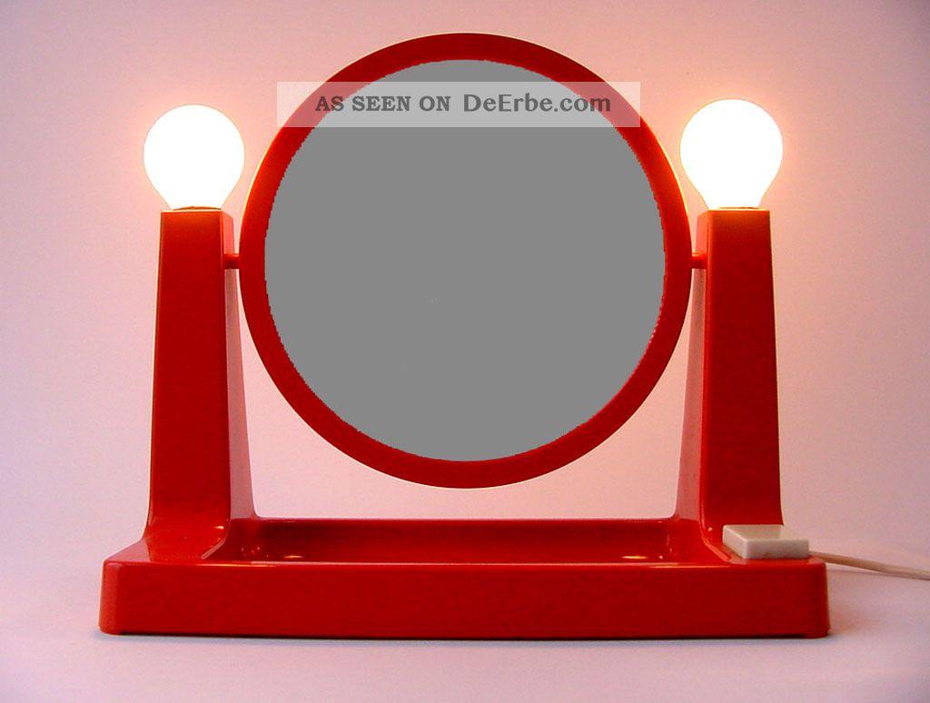 Schminkspiegel Spiegel Vintage Beleuchtet 70er Jahre Panton Colombo Ära Lampe 1970-1979 Bild