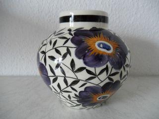 Handbemalte Jugendstil Keramik Vase Schramberg Art Nouveau Pottery (b165) Bild