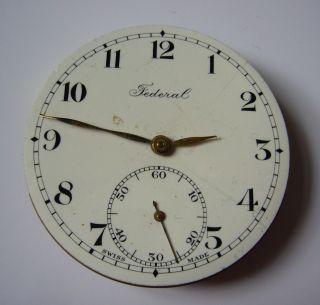 Schweres Altes Schweizer Taschenuhr Werk Federal - Uhrwerk Swiss Made Bild