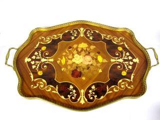 Großes Tablett Mit Intarsien - Nachbildung U.  Kleinem Messingrand,  53x39cm 4t2392 Bild