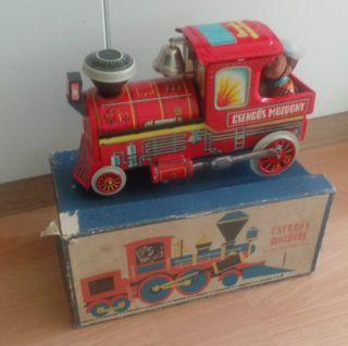 Blechspielzeug Blechlok Csengös Mozdony Kiterös Elektromos Jatek Veb Produckt Ov Bild