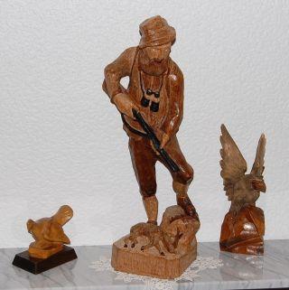 3 X Holzfiguren - Jäger - Förster - Waidmann - Adler - Auerhahn Geschnitzt - Schnitzkunst Bild