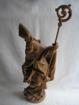 Große Holzfigur Papst Urban Geschnitzt Mit Stab 80 Cm Lang Ca.  5 Kg Schwer Bild