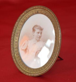 14.  Antiker Bilderrahmen Rahmen Jugendstil Bronze Gewölbtes Glas Bild
