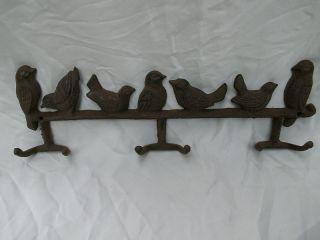 Garderobe Handtuchhalter Hakenleiste Gusseisen Vogelgarderobe Antik - Braun Bild
