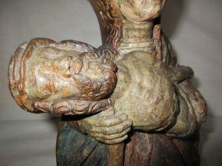 Antike Pieta Holzfigur Madonna Muttergottes Um 1800 Kirchenfigur Holz Skulptur Bild