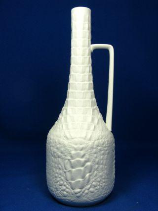 Rare 70´s Crocodile Skin Looking Design Vase Porcelain Matte Kaiser 261 23 Cm Bild