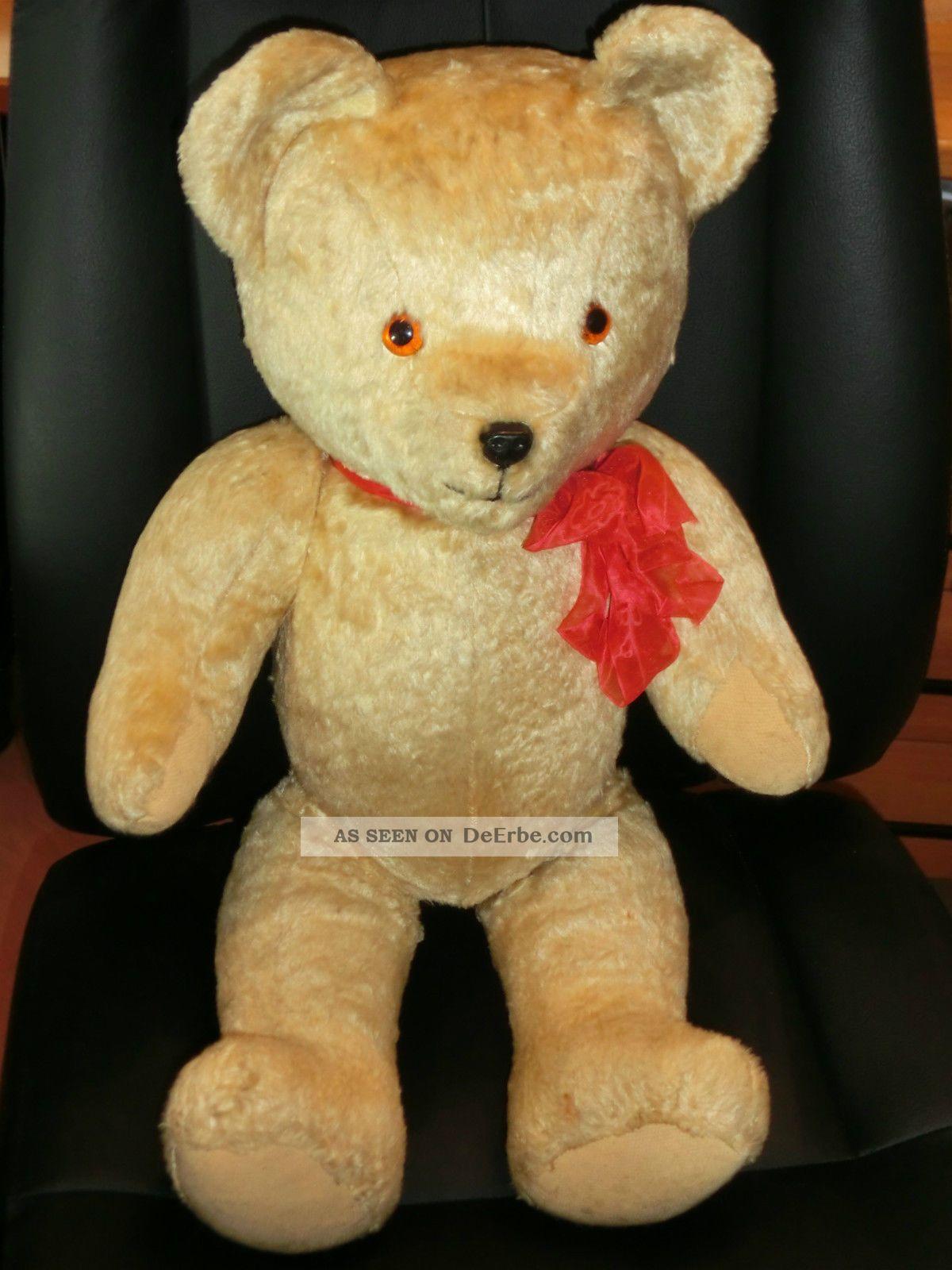 Wunderschöner Grosser Alter Teddy Alt / Teddybär Antik / Holzwolle Gestopft Stofftiere & Teddybären Bild
