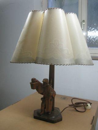 Antike Lampe Mit Holzfigur Nachtwächter Von N.  Gille Bild