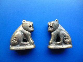 2 Stück Foo Dog Hund Tempelhund Drachenhund Fu Feng Shui Messing Buddhism 1970 Bild