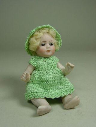 "E531/ Antike Puppenstuben Puppe,  Baby Ca.  10 Cm.  Ca.  1920 ""biskuit Porzellan"" Bild"