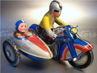Lithographiertes Blechmotorrad Mit Beifahrer - Uhrwerkaufzug Bild