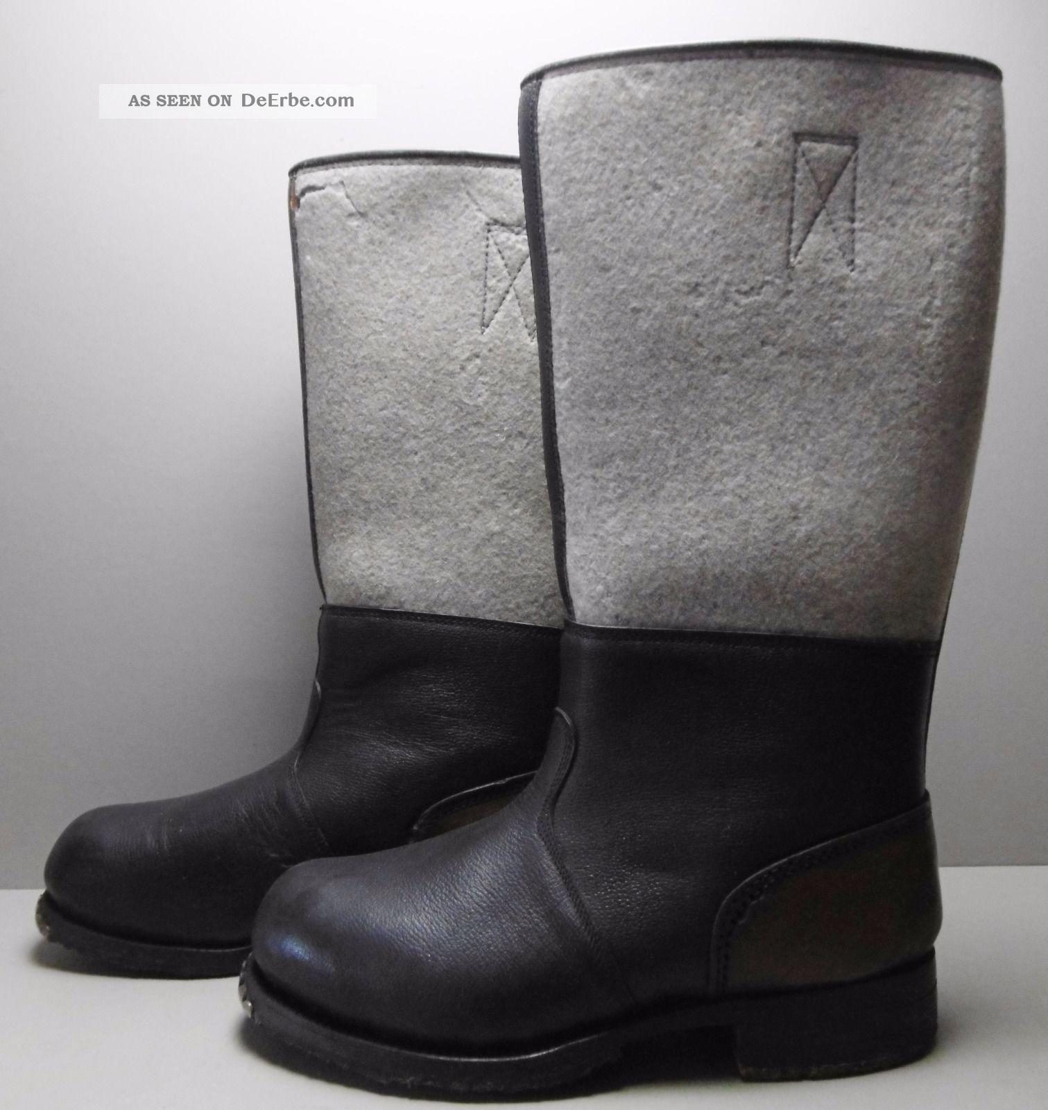 Antike Stiefel 1.  Weltkrieg Holznägel Eisenbeschläge Leder Und Filz Gr.  43/44 Kleidung Bild