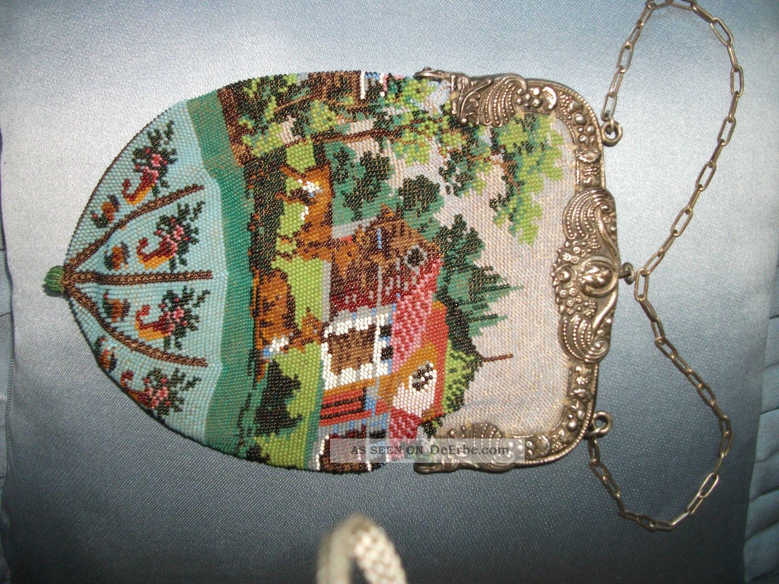 Perlenbeutel Tasche Antik Mit 800er Silberbügel Accessoires Bild