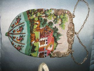 Perlenbeutel Tasche Antik Mit 800er Silberbügel Bild