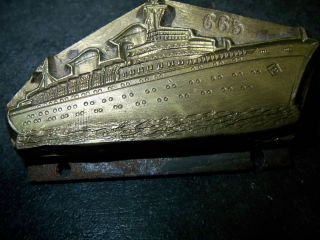 Petschaft - Bronze - Prägestempel - Schiff - Dampfer - Kreuzer - Kahn - Schiffswappen Bild