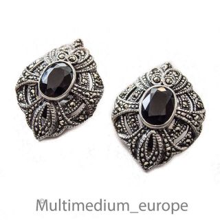 Silber Ohrclips Ohrringe Onyx Markasit Silver Ear Clips Earrings Marcasite Deco Bild