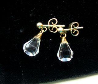 Vintage Ohrringe Ohrstecker,  Swarovski Glas Perle,  925 Sterling Silber Vergoldet Bild