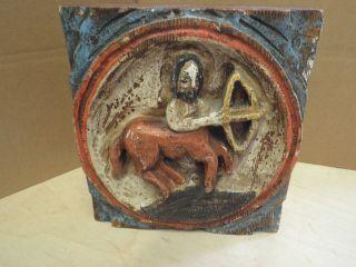 Altes Antikes Antik ?? Holzbild Reiter Auf Pferd Und Bogen 24 X 22 X 6,  5 Cm Bild