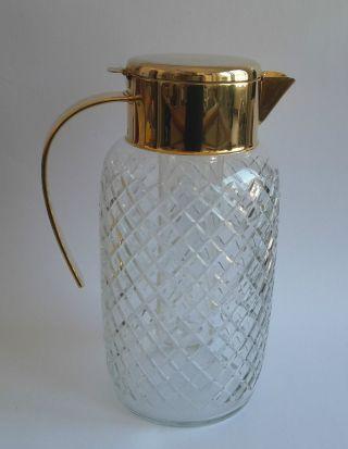 Kalte Ente Geschliffen Rautenmuster Mm Kristallglas Mit Kühleinsatz Vintage Bild