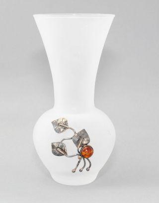 Stilvolle Glas Vase Bernstein 835 Silber Amber Glasvase Silver Floral 14 Cm Bild