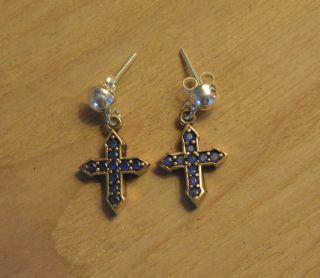 Antik Ohrstecker Ohrringe Silber Handarbeit 925 Mit Gold Kreuz Cross Croce Croix Bild