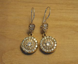 Antik Ohrstecker Ohrringe Silber Handarbeit 925 Mit Gold Earrings Orecchin. Bild