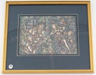 Miniatur Bild Malerei Bali Dorf Batuan Blattgoldrahmen 13 X 18,  5 Cm Signiert Bild