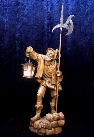 Holzschnitzerei NachtwÄchter P&r Eder Oberammergau Figur Geschnitzt,  Woodcarving Bild