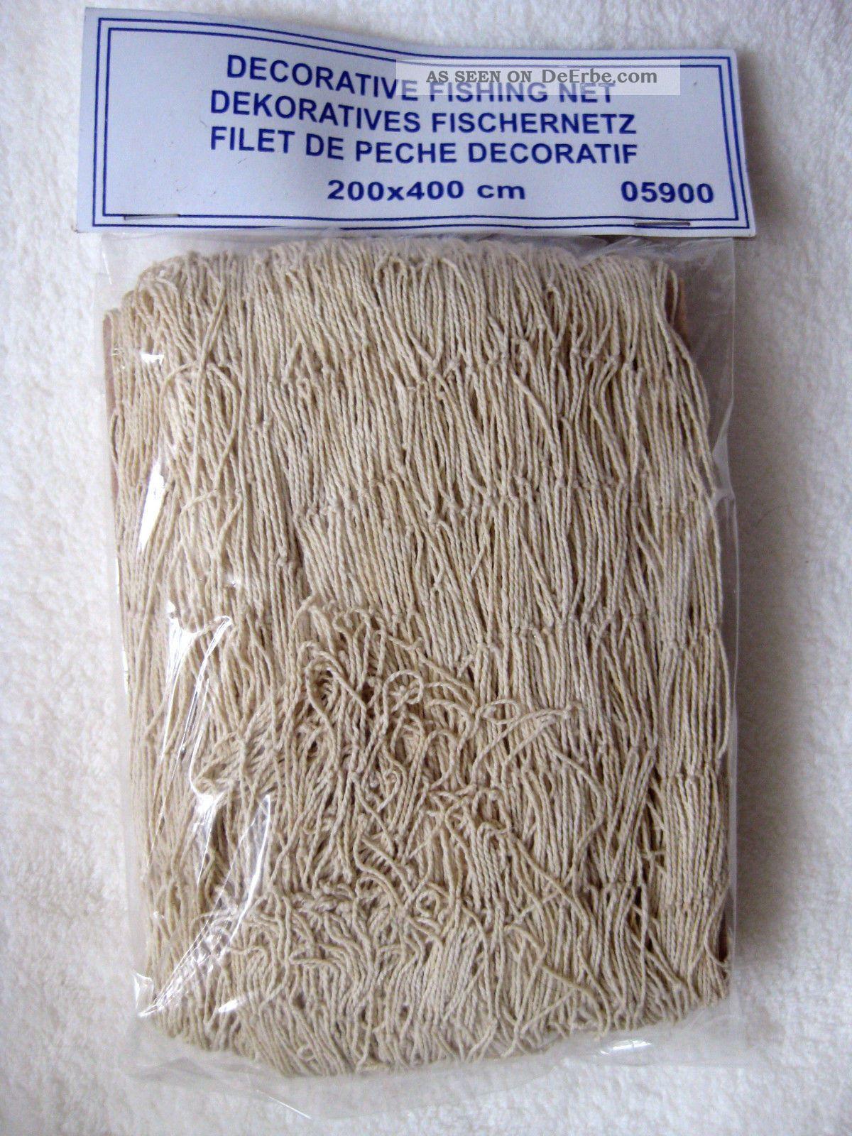 Großes Deko Netz Fischernetz Ca. 200x400cm Beige Baumwolle Maschen 3x3cm