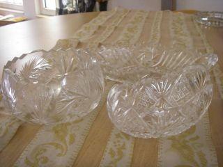 Drei Stück Kristallglas Schale Geschliffen Anbietschalen Bonboniere Zackenrand Bild