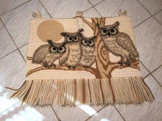 80er 80s Wandteppich Teppich Deko Eulen Eule Owl Vintage Bild