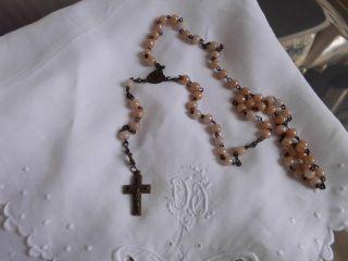 Nr.  4: Alter Rosenkranz Mit Hellbraunen Perlen,  42cm Lang Bild