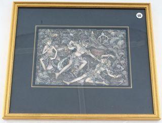 Kleine Miniatur Malerei Bali Dorf Batuan Blattgoldrahmen 17 X 11,  5 Cm Signiert Bild