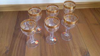 6 Kristall Gläser / Wein Römer Von Anna Hütte Aus Bleikristall Mit Goldrand Bild