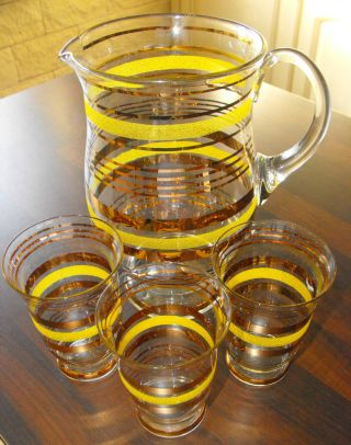 Alter Glaskrug Mit 3 Gläsern Goldverzierungen Edel Art Dèco Podbira Selten Bild