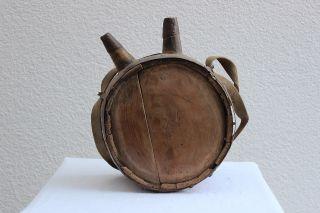 Trinkflasche Aus Holz Mit Gurt Und BeschlÄgen - Sehr Dekorativ Um 1880 Bild