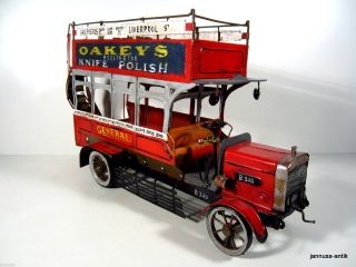 Altes Modellauto Bus England London 42 Cm Seltenes Doppeldecker Blechspielzeug Bild
