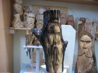 Wikinger Gesicht Holzfigur Hand Geschnitzt Aus Eiche Einzelstück Bild