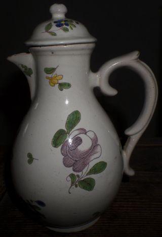 Selten Durlacher Fayence Kaffeekanne Um 1770/1790 Pilzknaufdeckel Krug Kanne Alt Bild
