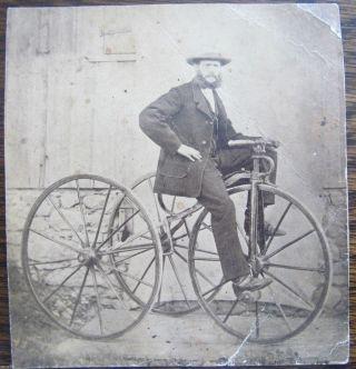 Hochrad / Dreirad Wohl Um 1880 Einmaliges Foto Mit Dem Erfinder? Bild