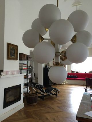 Space Age Mid Century Atomic Kugellampe Gold Weiss Sputnik Lampe Xl 65 Cm Hoch Bild