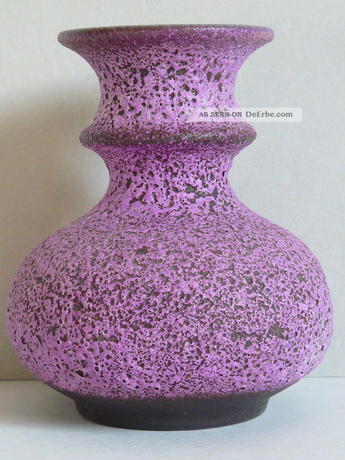 Steuler Keramik Vase Cari Zalloni Fat Lava Crusty Purple Glaze 223/15 1970-1979 Bild