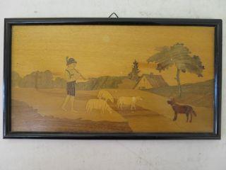 K1) Altes Holz Bild Im Rahmen Intarsien Handarbeit Hirte Mit Flöte Hund Schafe Bild
