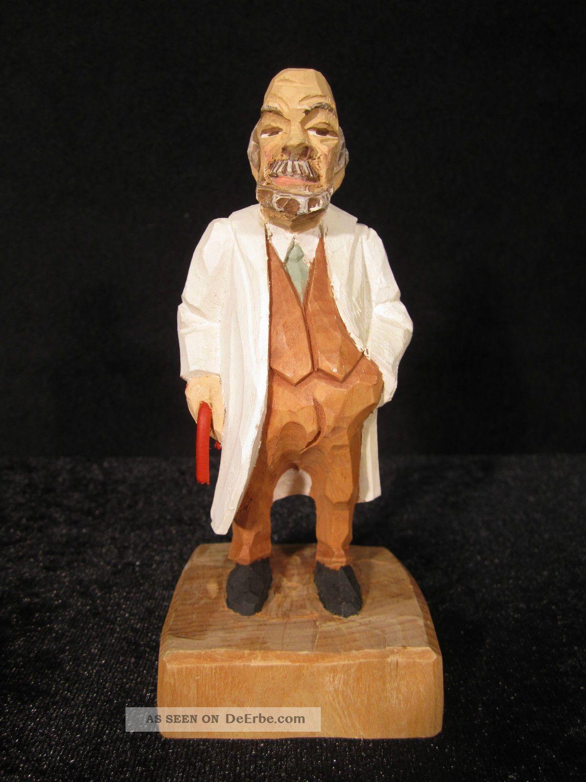 Magen - Arzt,  Doktor,  Dr.  Med.  Handgeschnitzt Zirbelholz Ca 14,  5 Cm,  Farbig Bemalt Arzt & Apotheker Bild